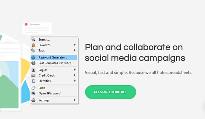 1Password chrome extension for social media manager marketer freelancer