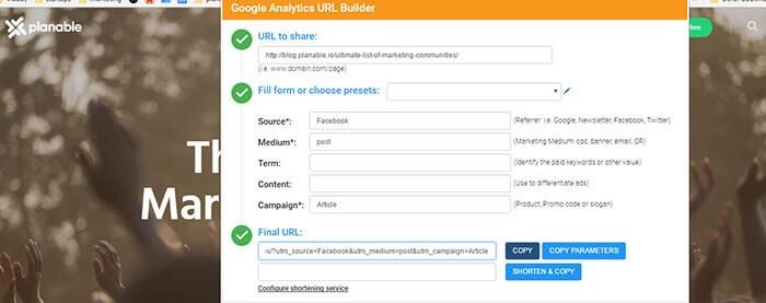 Google Analytics URL Builder chrome extension for social media manager marketer freelancer