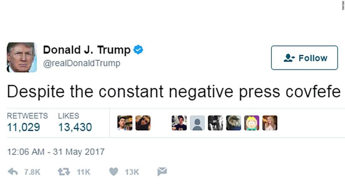 Social Media Year in Review 2017 Donald Trump covfefe