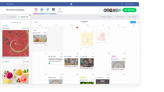managing multiple social media accounts calendar view in planable