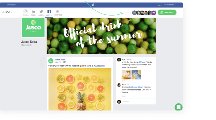 managing multiple social media pages add teammates in planable