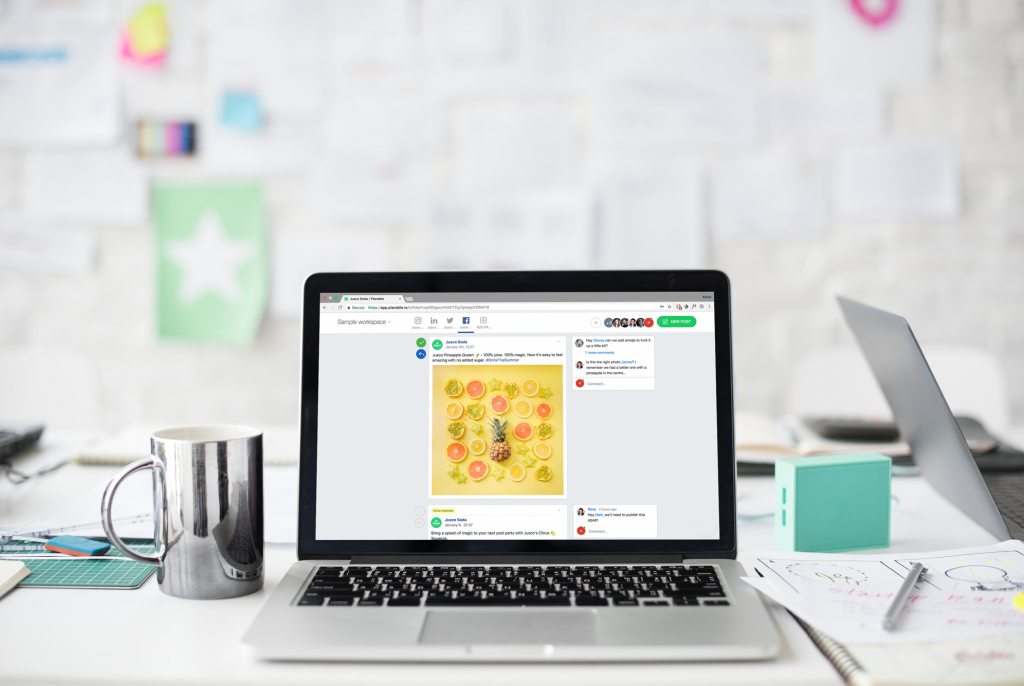 laptop with Jusco Soda - guide to manage multiple social media accounts