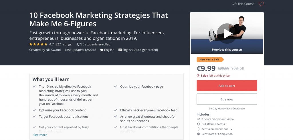 social media courses - Udemy 10 Facebook Marketing Strategies That Make Me 6-Figures