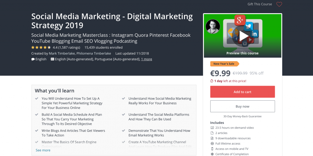 social media courses - Udemy marketing strategy masterclass 2018
