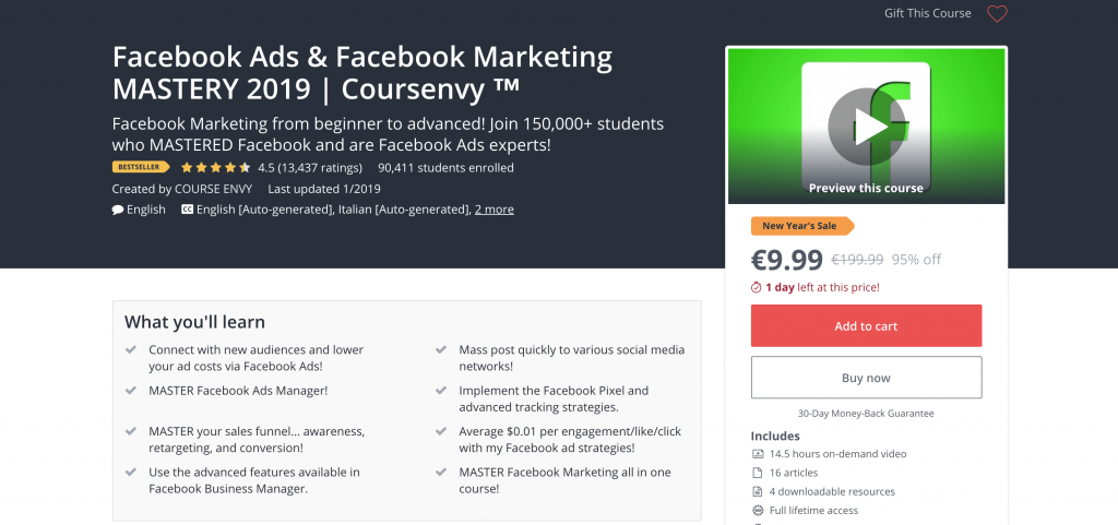 social media courses - Udemy Facebook Ads and Facebook Marketing Mastery 2019