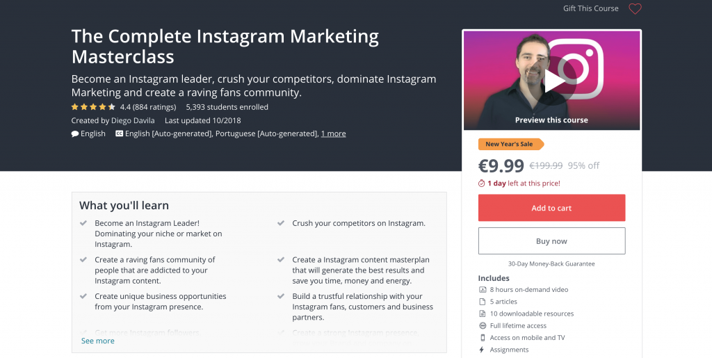 social media courses -Udemy The Complete Instagram Marketing Masterclass 2018