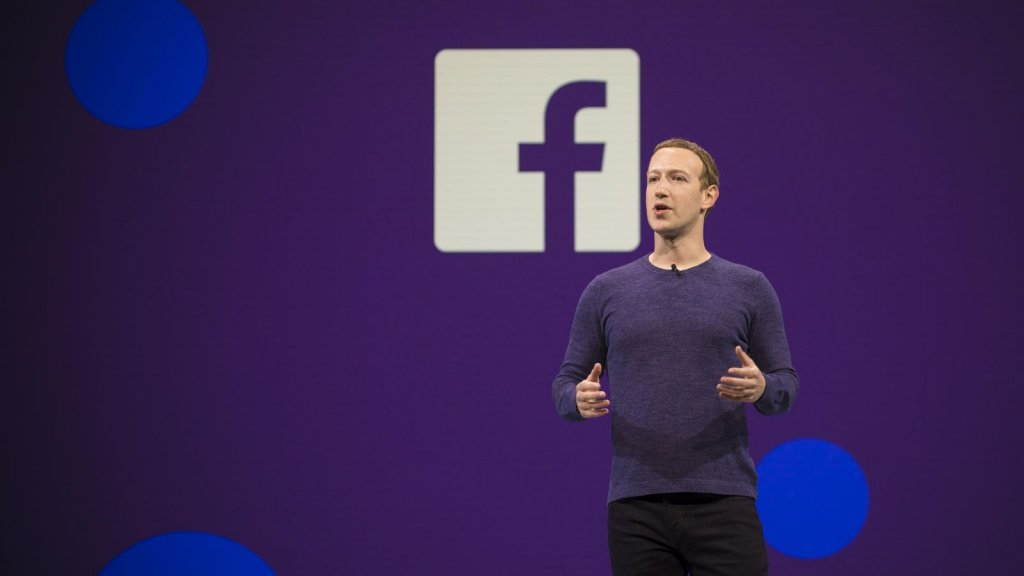 Mark Zuckerberg speaking at the Facebook F8 Conference 2018