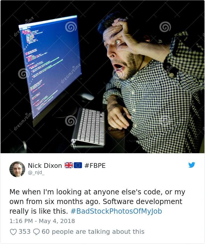 social media post bad stock photo of my job