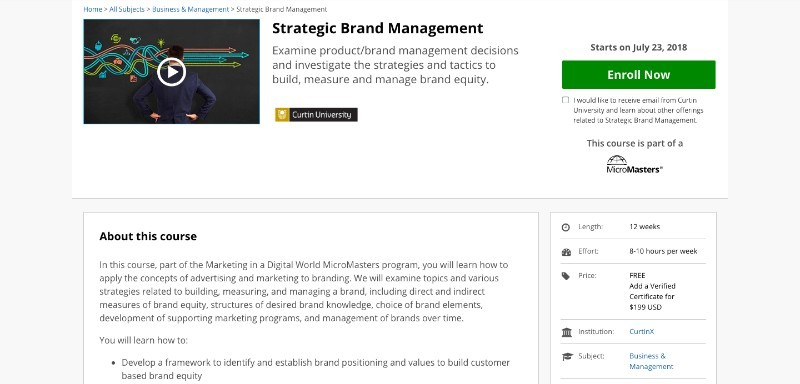 social media courses - strategic brand managemnet