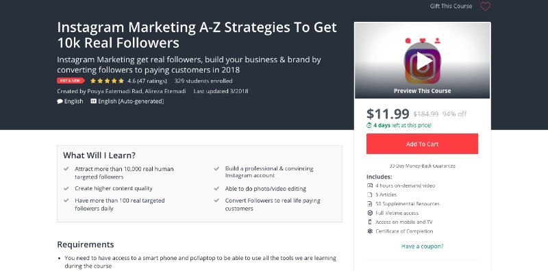 social media courses - instagram marketing a-z strategies to get 10k real followers