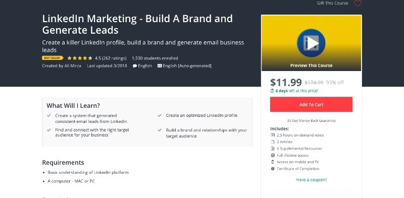 social media courses - linkedin marketing build a brand and generate leads udemy