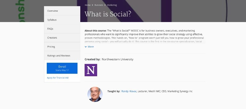 social media courses - what is social coursera