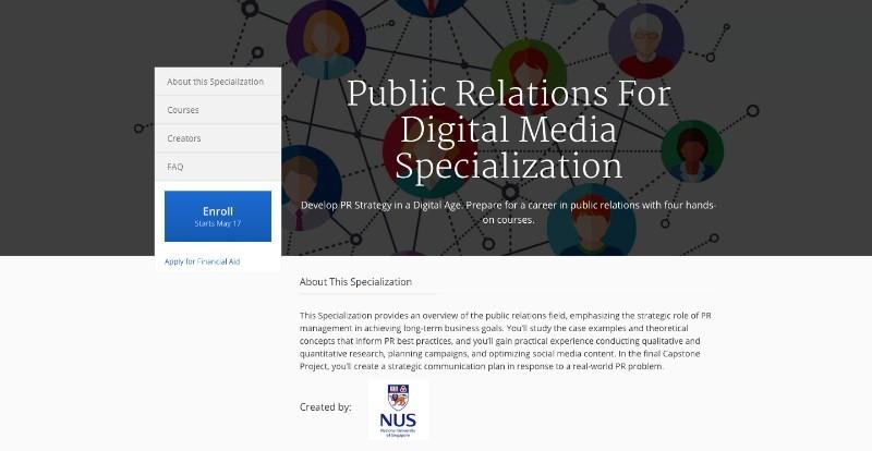 social media courses - public relations for digital media specialization