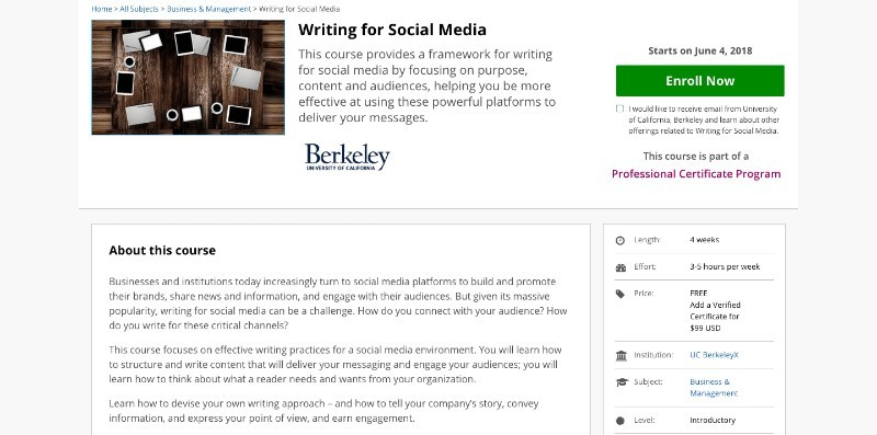 social media courses - writing for smm edx