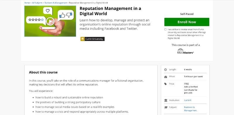 social media courses - reputation management in digital world