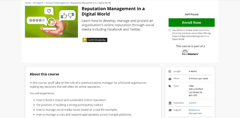 social media courses - reputation management in digital world