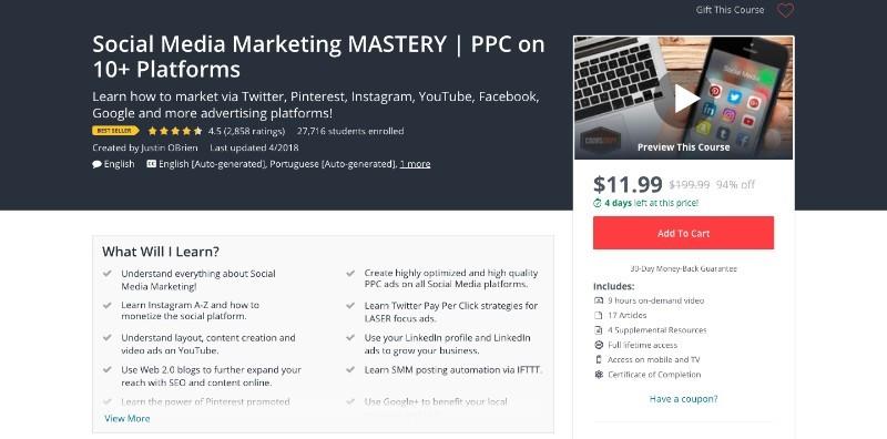 social media courses - social media marketing mastery ppc on 10+ platforms udemy