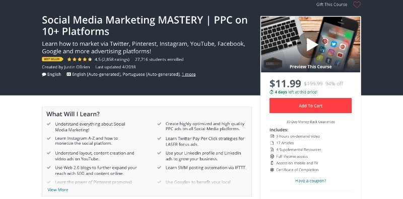 social media courses - social media marketing mastery ppc on 10+ platforms udemy