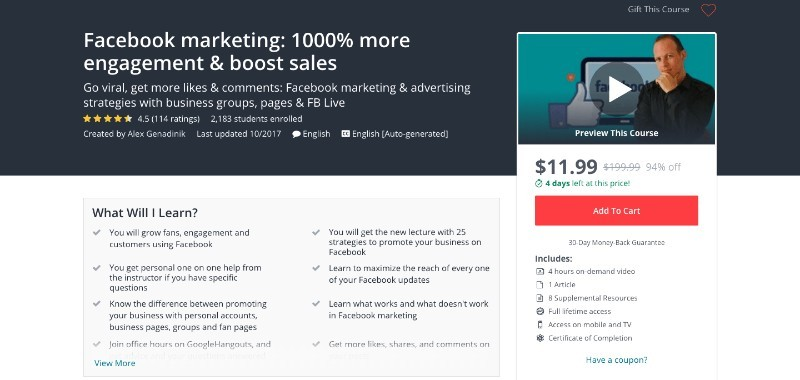 social media courses - facebook marketing 1000% more engagement & boost in sales