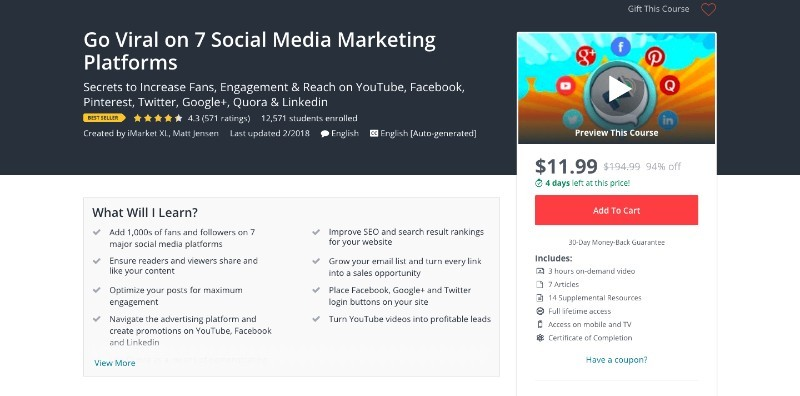 social media courses - go viral on 7 social media marketing platforms udemy