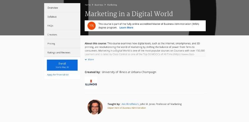 social media courses - marketing in a digital world coursera