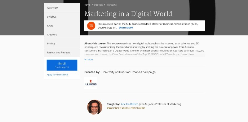 social media courses - marketing in a digital world coursera