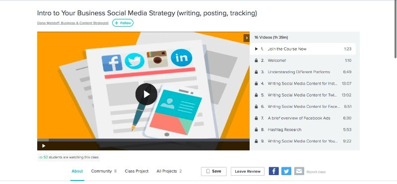 Skillshare Intro to Your Business Social Media Strategy (writing, posting, tracking)