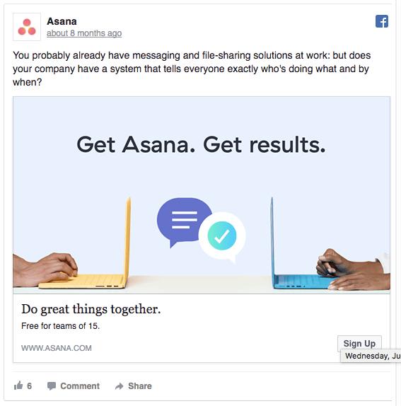 social media post asana example