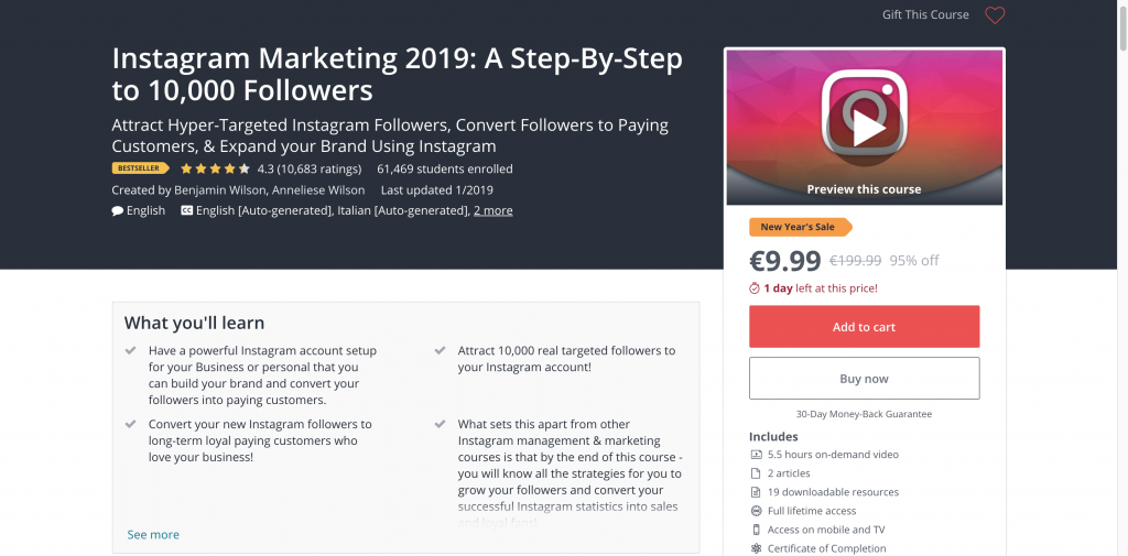 social media courses - Udemy Instagram Marketing 2018: A Step-By-Step to 10000 Followers