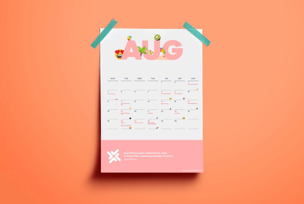 emoji calendar all the events in the world for social media content calendar
