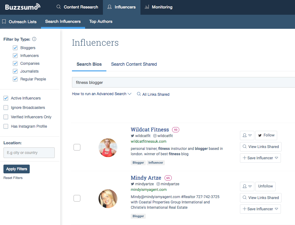 buzzsumo printscreen influencer marketing