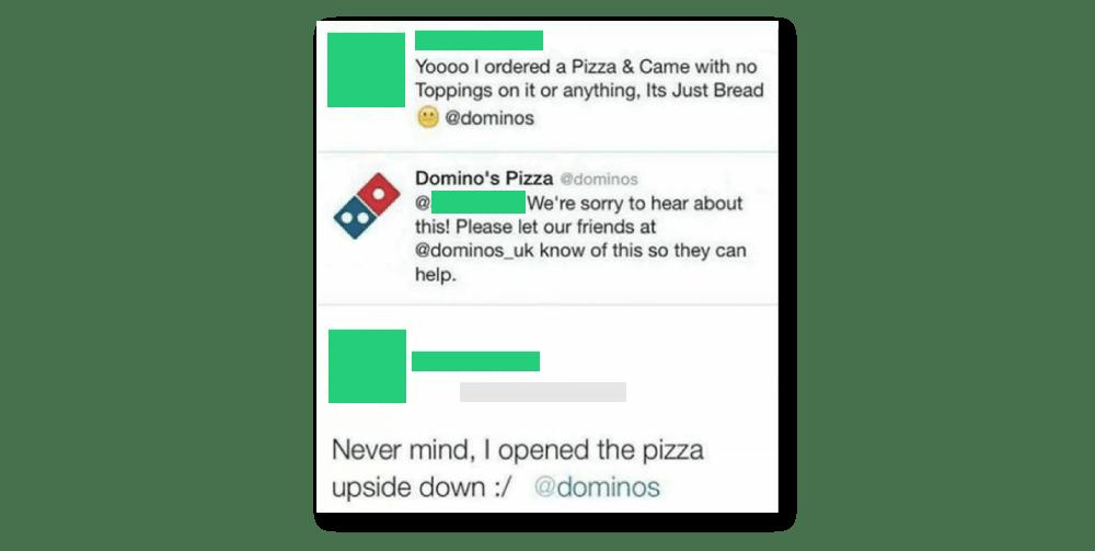 dominos pizza upside down dumb tweets