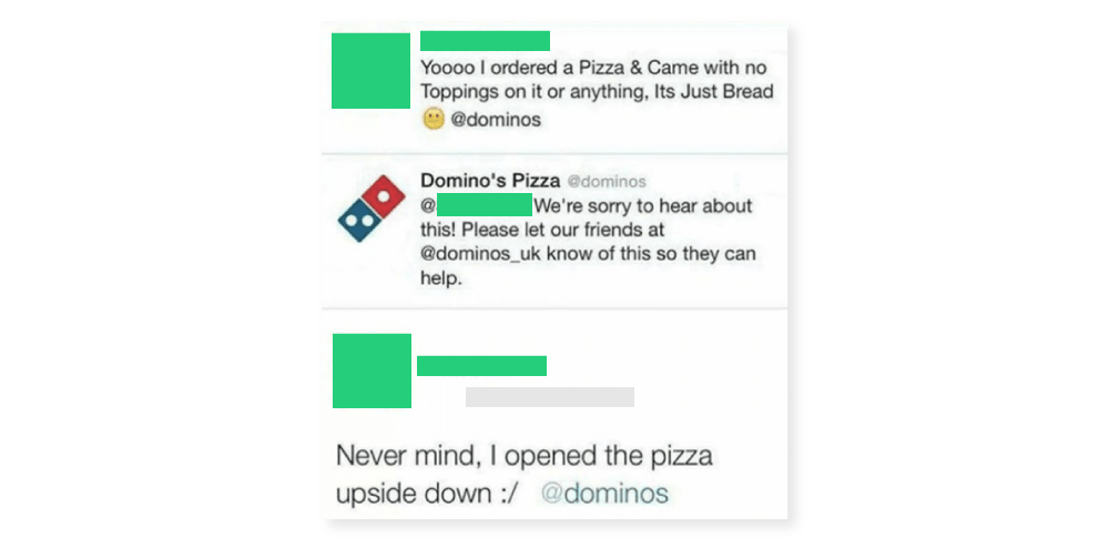 dominos pizza upside down dumb tweets