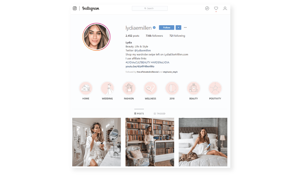 Lydia Millen fashion and beauty influencer.