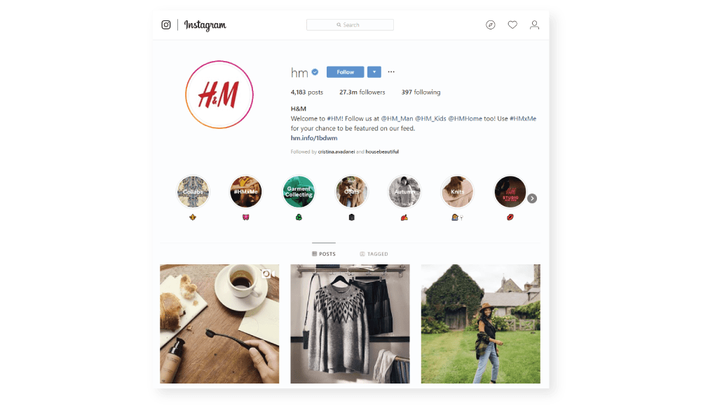 H&M uses Stories Highlights Instagram Trends
