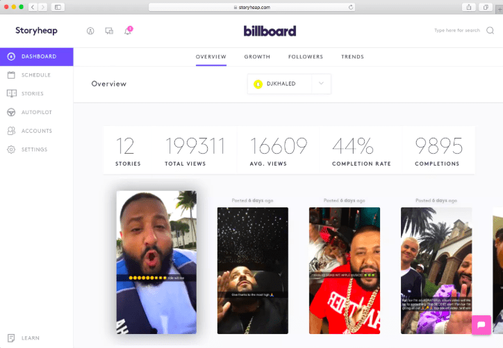 instagram marketing tool storyheap djkhaled billboard overview growth followers trends analytics engagement followers views autopilot