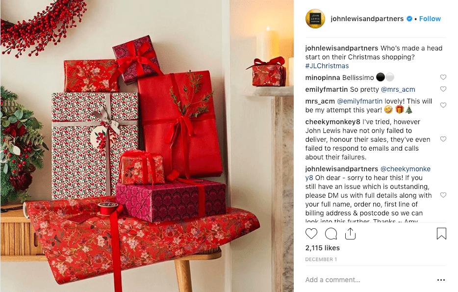 best social media campaigns john lewis christmas instagram post