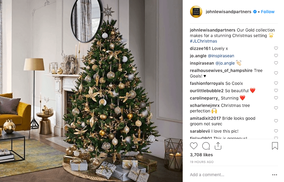 best social media campaigns john lewis christmas instagram post with tree