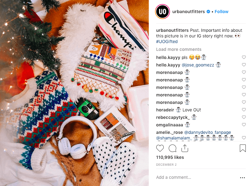 best social media campaigns urban outfitters christmas instagram post giveaway