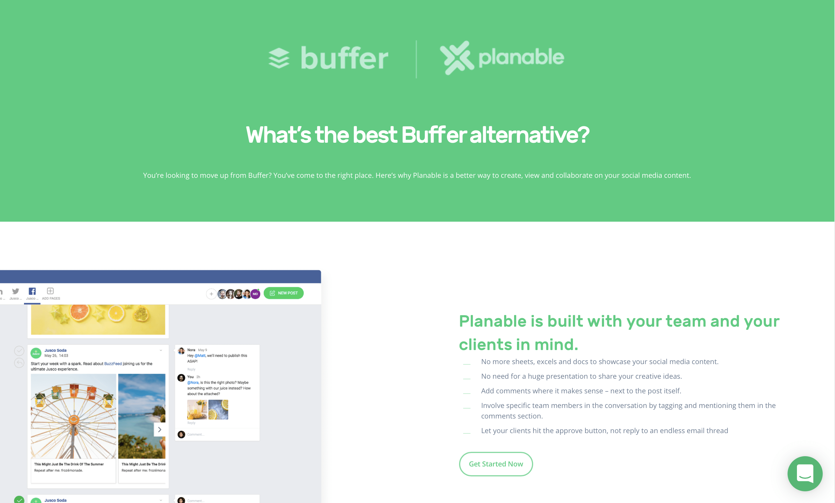 planable vs buffer comparison page marketing collateral example