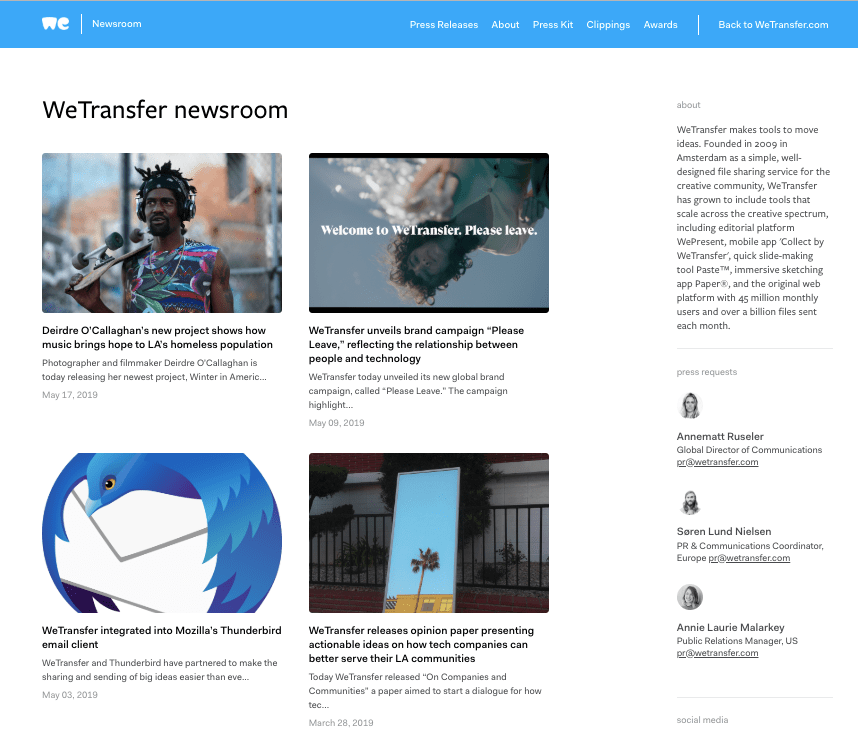 press mentions wetransfer marketing collateral example