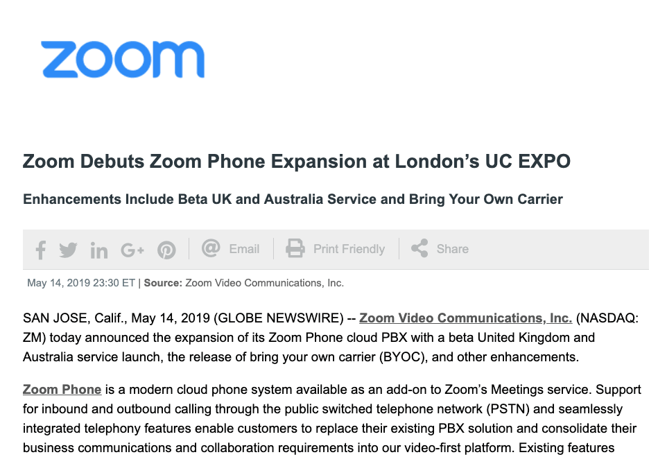 zoom press release marketing collateral example