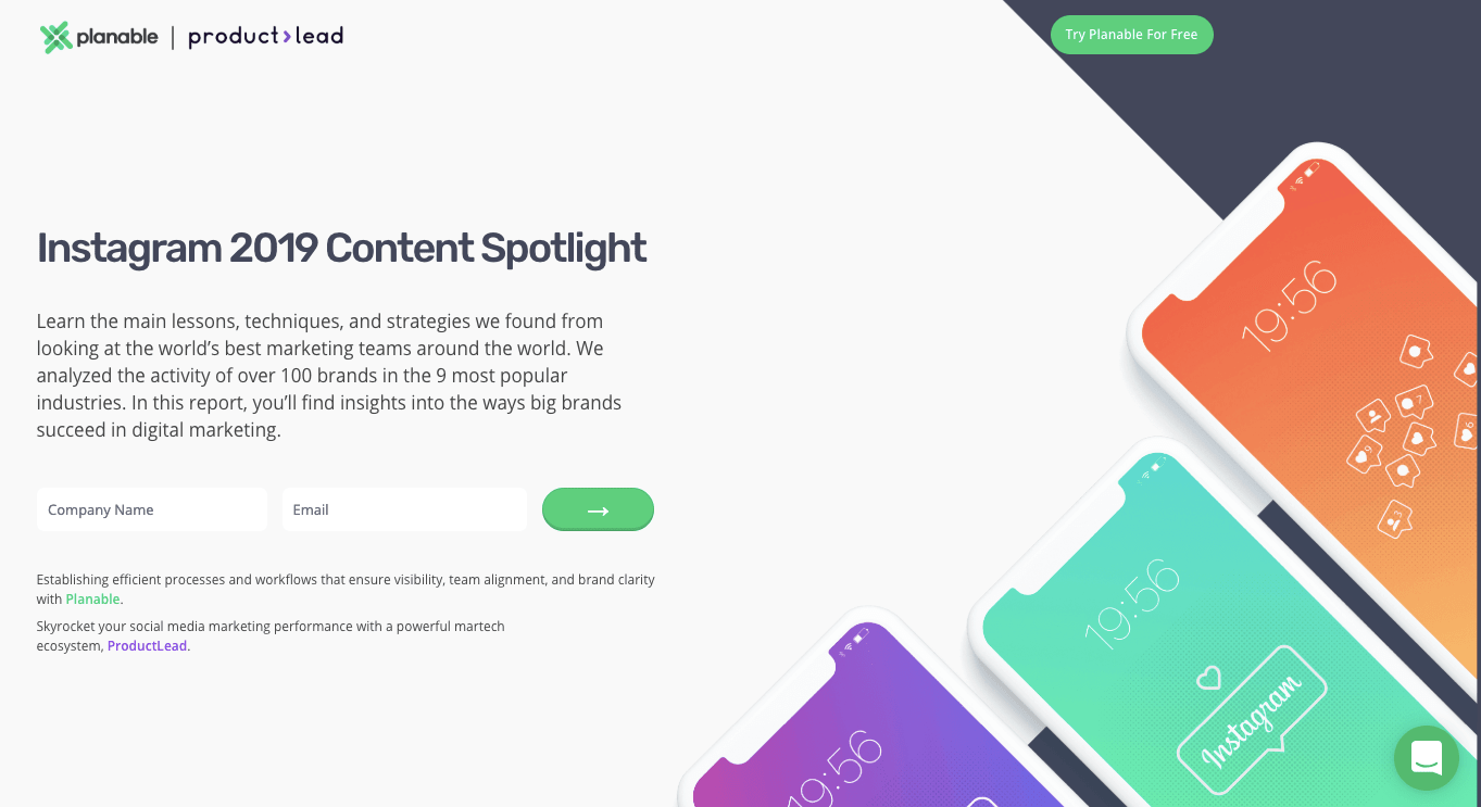 landing page instagram report content spotlight marketing collateral