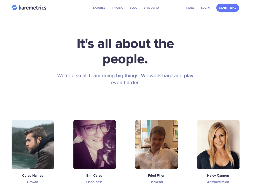 baremetrics its all about people landing page marketing collateral example