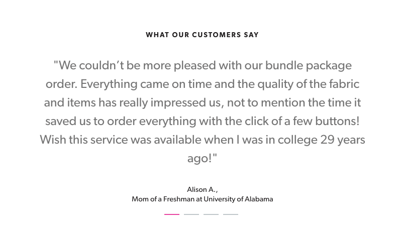 dormify customer testimonials from parents marketing collateral