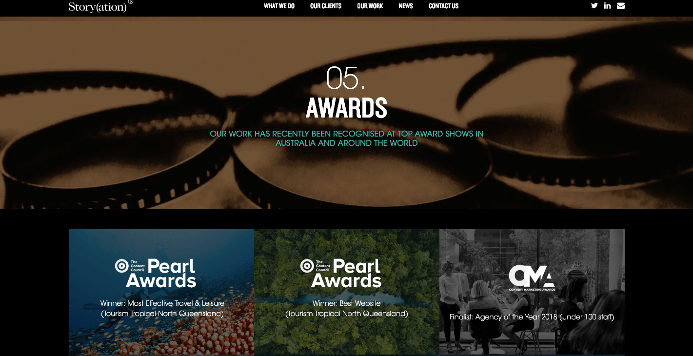 Storyation awards on website marketing collateral example