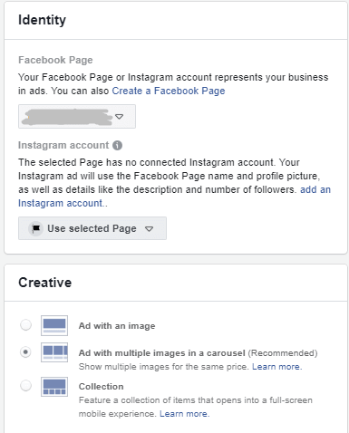 identity facebook page instagram dynamic ads