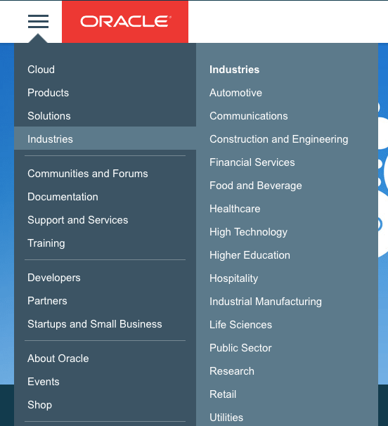 industry pages b2b oracle marketing collateral example
