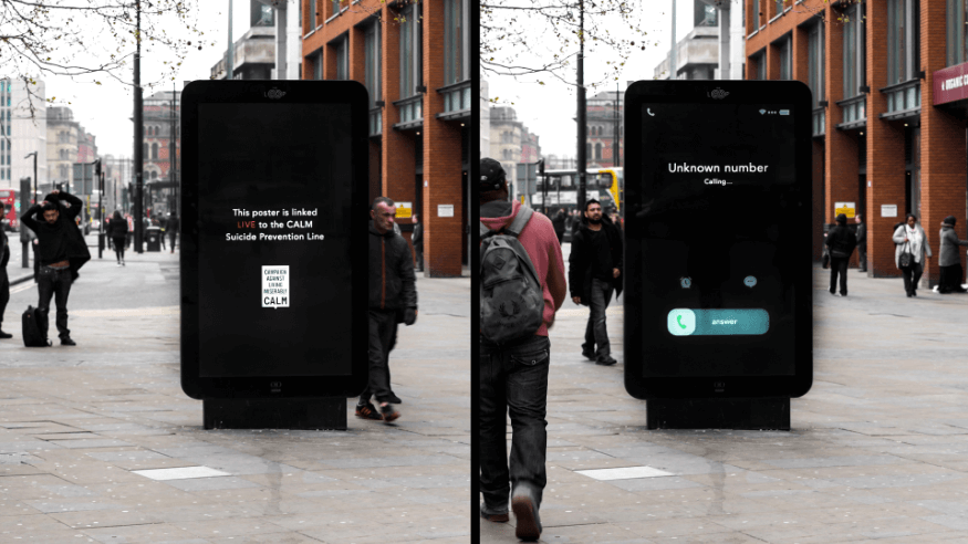 CALM reflects helpline calls in 'ringing' street displays