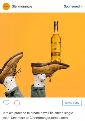 Instagram Dynamic creative ad yellow shoes drink